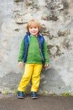 Outdoor portrait of a cute little boy Stock Photos