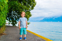 Outdoor portrait of a cute little boy Stock Images