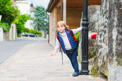 Outdoor portrait of a cute little boy Stock Image