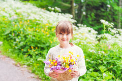 Outdoor portrait of a cute little girl Stock Images