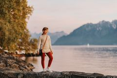 Outdoor fashion portrait of pretty little preteen girl Royalty Free Stock Image