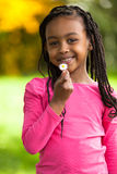 Outdoor portrait of a cute young black girl - African people Royalty Free Stock Photography