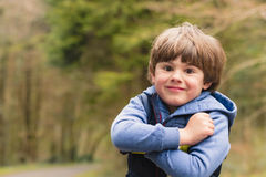 Outdoor portrait of cute young boy Royalty Free Stock Images
