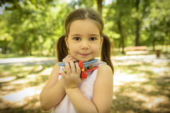 Outdoor portrait of expressive little girl royalty free stock photography