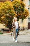 Outdoor portrait of beautiful woman royalty free stock image