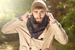 Outdoor portrait of handsome man with beard. Stock Image