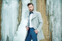 Outdoor portrait of handsome man in gray coat royalty free stock photo