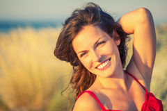 Outdoor portrait of happy young woman Stock Image