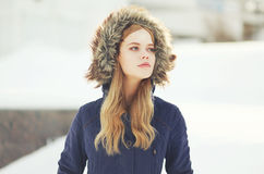 Outdoor portrait of hipster stylish girl Stock Images
