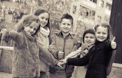 Outdoor portrait of junior school kids Stock Photo
