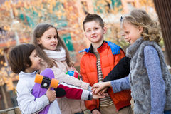 Outdoor portrait of junior school kids royalty free stock images