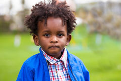 Outdoor portrait of a little african american boy - Black - chil Stock Photo