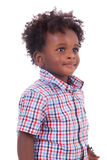 Outdoor portrait of a little african american boy - Black - chil. Outdoor portrait of a little african american boy, isolated on white background - Black Royalty Free Stock Photo