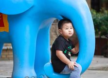 Little asian boy. Outdoor portrait of a little asian fat boy, Play in the park royalty free stock photos