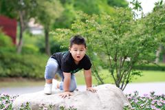 Little asian boy. Outdoor portrait of a little asian fat boy, Play in the park royalty free stock photo