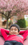 Outdoor Portrait of a Little Boy in a Hammock Royalty Free Stock Image