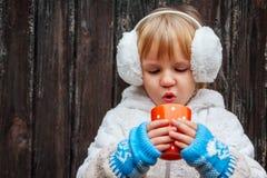Outdoor portrait  little girl wearing white Stock Photo