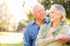 Outdoor Portrait Of Loving Senior Couple Stock Photography
