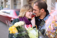 Outdoor portrait of man in glasses and beauty girl Royalty Free Stock Photos