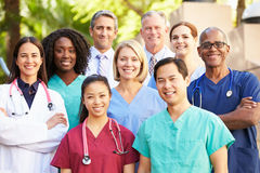 Outdoor Portrait Of Medical Team. Smiling At Camera Royalty Free Stock Photos