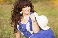 Outdoor portrait of the middle age woman. Stock Images