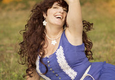 Outdoor portrait of the middle age woman. Royalty Free Stock Images