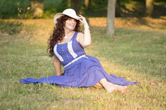 Outdoor portrait of the middle age woman. Royalty Free Stock Image