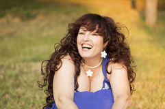 Outdoor portrait of the middle age woman. Royalty Free Stock Photo