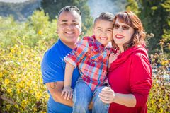 Outdoor Portrait of Mixed Race Caucasian and Hispanic Family. Royalty Free Stock Photography