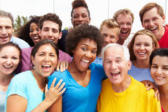 Outdoor Portrait Of Multi-Ethnic Crowd royalty free stock images