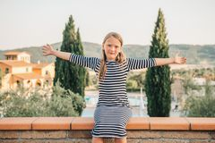 Free Outdoor Portrait Of A Cute Little Girl Of 8 Years Old Stock Image - 140827561