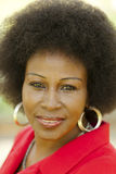 Outdoor Portrait Older Black Woman Red Jacket Royalty Free Stock Photography