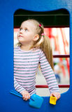 Outdoor portrait of playing little girl Royalty Free Stock Image