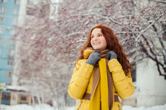 Outdoor portrait of pretty young girl in winter Royalty Free Stock Images