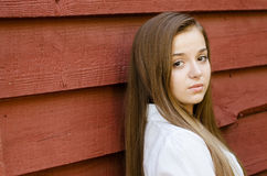 Outdoor portrait of pretty, young teen girl. Outdoors Royalty Free Stock Photography