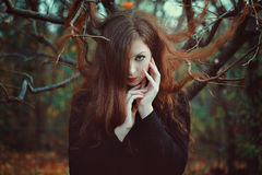 Outdoor portrait of red hair woman Stock Photo