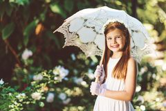 Outdoor portrait of romantic little girl royalty free stock photo