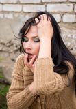 Outdoor portrait of a sad woman looking desperate Royalty Free Stock Photography