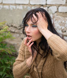 Outdoor portrait of a sad woman looking desperate Stock Photos
