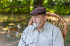 Outdoor portrait of senior bearded man Stock Photography