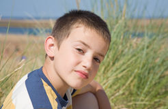 Outdoor portrait of a small boy Stock Images