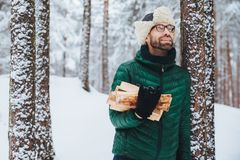 Outdoor portrait of smiling male stands near tree covered with snow, holds firewood, looks happily upwards as notices squirrel on stock photo