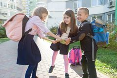 Outdoor portrait of smiling schoolchildren in elementary school. Group of kids with backpacks are having fun, talking. Education, friendship, technology and stock photos