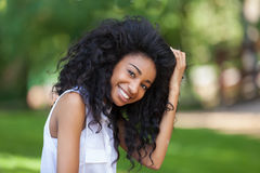 Outdoor portrait of a teenage black girl - African people Royalty Free Stock Photography