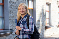 Outdoor portrait of teenage girl with backpack Stock Photos