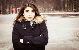 Outdoor portrait of a thoughtful teenage girl Royalty Free Stock Photography