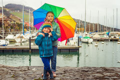 Outdoor portrait of two adorable kids Royalty Free Stock Photo
