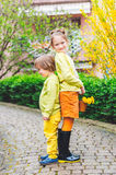 Outdoor portrait of two adorable kids Stock Images
