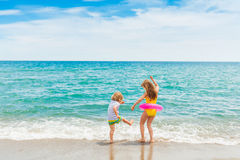 Outdoor portrait of two kids on summer vacation Stock Image