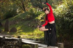 Outdoor Portrait of Woman Doing Yoga in Nature Stock Images